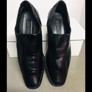 Calvin Klein MEN'S BLACK SOFT LEATHER DRESS LOAFER